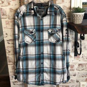 Buckle Black men's button down collar shirt. XL